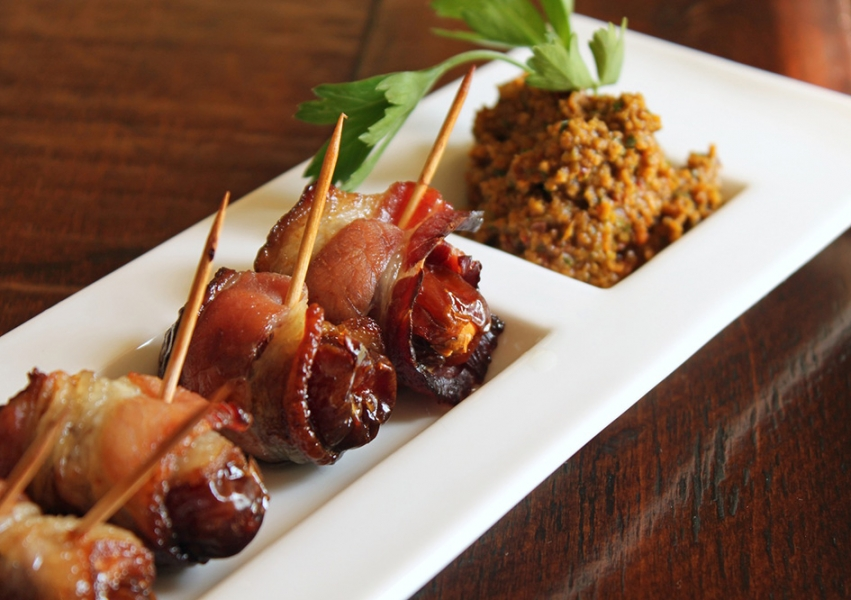 Dates and Bleu Wrapped in Bacon