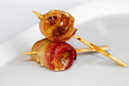 Pork with BBQ Sauce Wrapped in Bacon