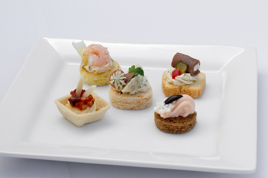 Cold canapes assortments party capanes assortments by for Gourmet canape ideas